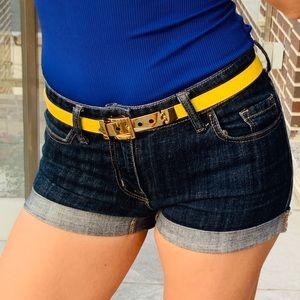 CC SKYE 18K Gold allot yellow leather skinny belt